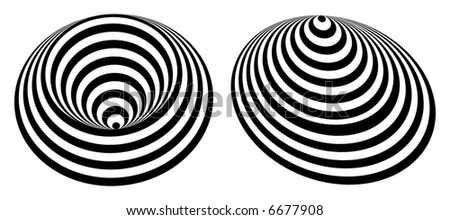 Black & White Circle tunnel optical effect - stock vector