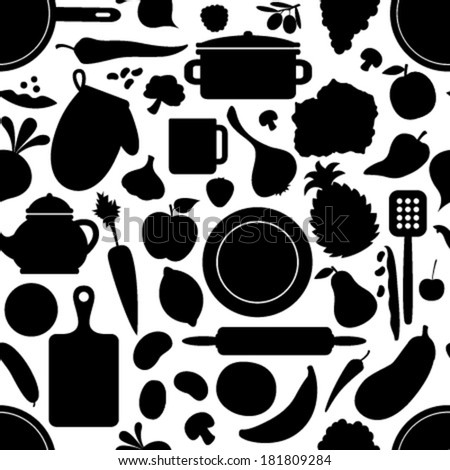 black & white cook seamless pattern - stock vector