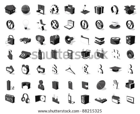 black&white 3D icon set 63 icons for your design - stock vector