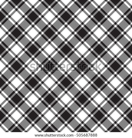 Black white diagonal check texture seamless pattern. Vector illustration.