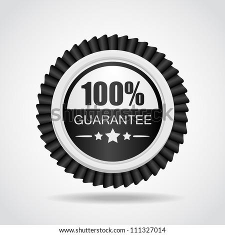 Black & White label. 100% Guarantee - stock vector