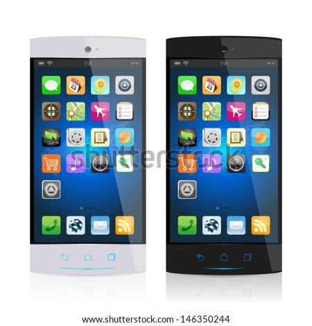 Black & white mobile phone, vector - stock vector