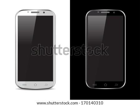 Black / White Mobile / Tablet / Smartphone Vector Illustration - stock vector