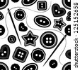 black & white needle & buttons silhouette seamless pattern - stock vector