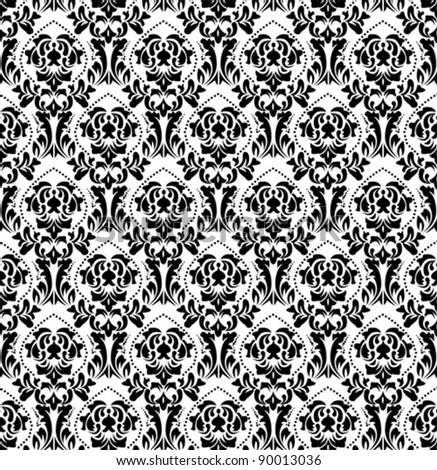 black white old wallpaper - stock vector