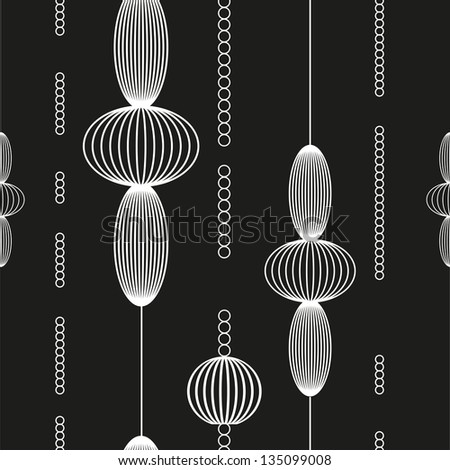 black white pattern with circles - stock vector