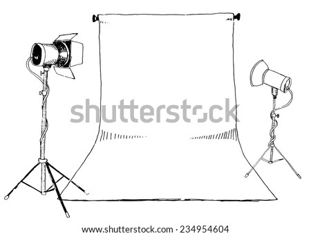 Black / white photo studio sketch, vector