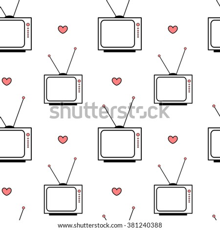 black white pink vintage retro cartoon television seamless vector pattern background illustration with hearts - stock vector