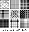 Black & white plaid patterns set - stock vector