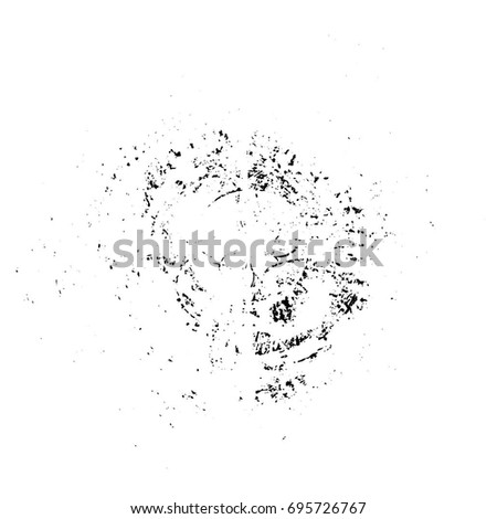 Black - White Round Grunge Overlay Element. Circle Pattern, Logo, Badge, Label, Icon. Abstract Distress Texture Backdrop. Dirty Vintage Vector Illustration Background. Brush Strokes Template