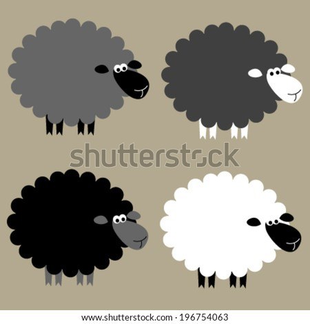 black & white sheep set