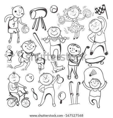 Black-white sketch sport players, vector cartoon character set - stock vector