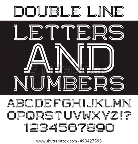 Black white strip letters and numbers. Double line flat font. Isolated english alphabet with figures.