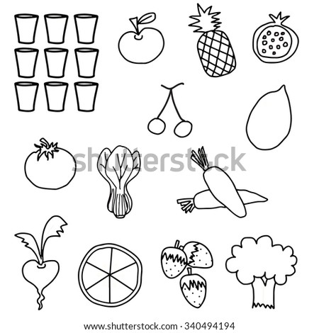 Black White vegetable fruit drawing illustration - stock vector