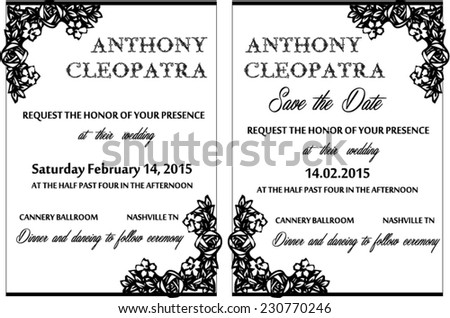 Black white wedding invitation card vector stock vector 230770246 black white wedding invitation card vector template stopboris Gallery