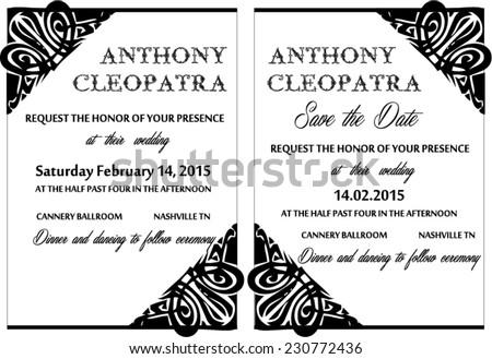 Black white wedding invitation card vector stock vector 230772436 black white wedding invitation card vector template stopboris Gallery