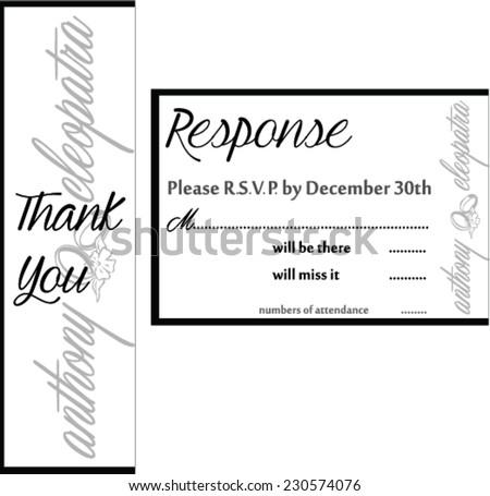 Black White Wedding Invitation Thank You Stock Vector 230574076