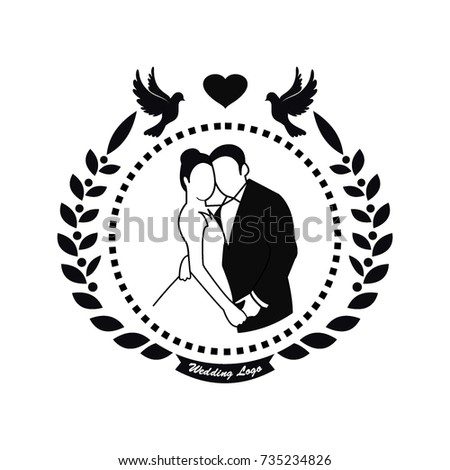 Black White Wedding Logo Vector Circle Stock Vector HD (Royalty Free ...