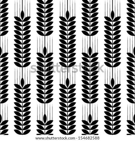 black & white wheat seamless pattern - stock vector