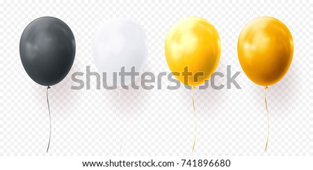 Black, white yellow gold and glossy golden balloon vector illustration on transparent background. Glossy realistic baloon for Birthday party.