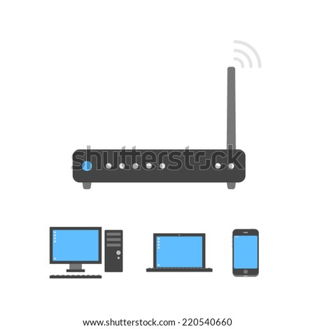 Black wi-fi router icon connected with pc, notebook and smartphone vector illustration. Best for electronics internet shops or net services website. - stock vector