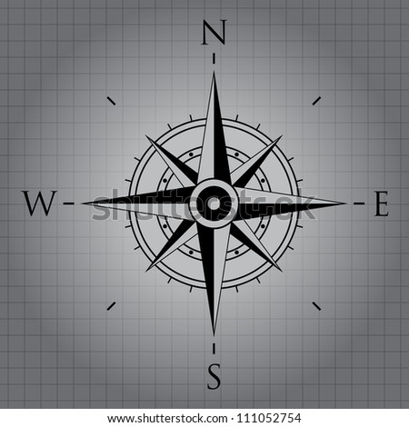 Black wind rose on gray background - stock vector