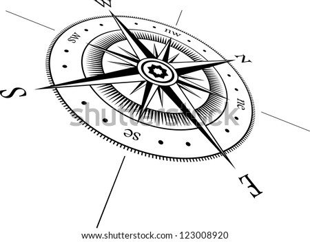 Black wind rose on white background - stock vector