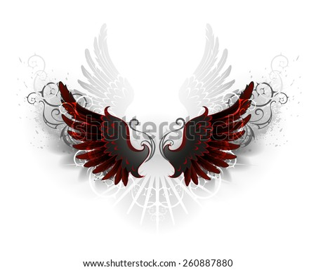 black wings , decorated with a pattern on a white background - stock vector