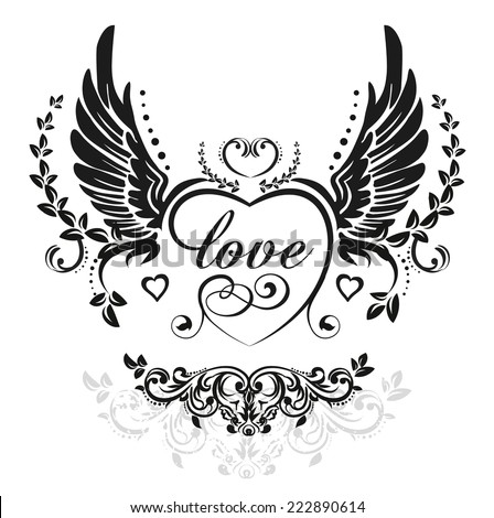 Black wings with decorative heart and leafs, illustration isolated on white - stock vector