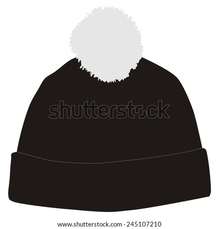 Black winter hat with white pompom vector isolated, snowboarding hat - stock vector