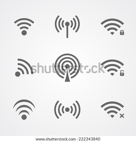 Black wireless access icons isolated on white background. Vector collection - stock vector