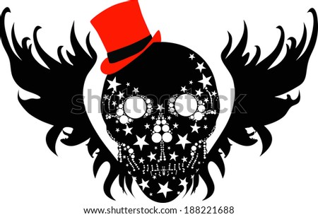 black with black angel wings and a red hat has a skull design. a kind of tattoo designs. vector - stock vector