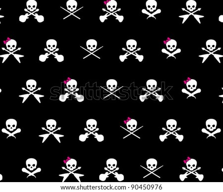 Black with with White Rock Musician Skull and Cross Bones with Hot Pink Girlie Bows Pattern Background Fabric or Wrapping Paper Design - stock vector