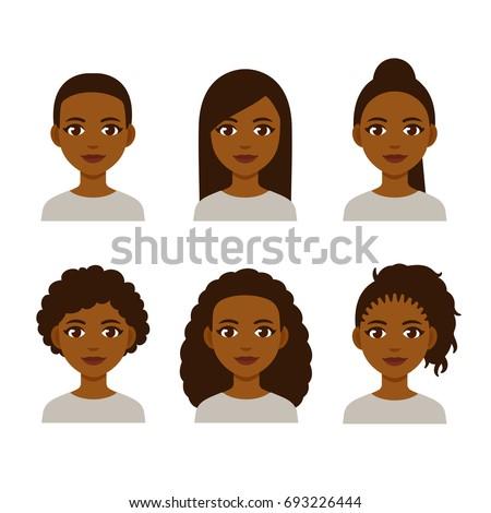 Vector Illustration Black Women Faces Great Stock Vector