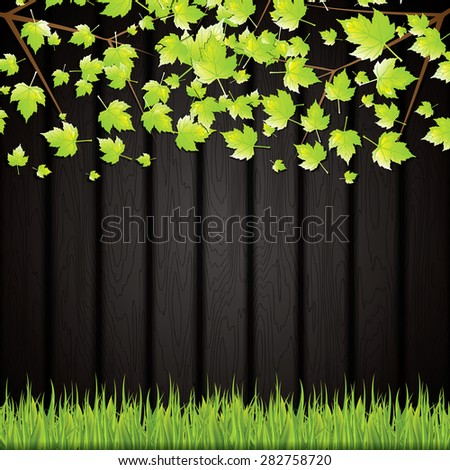 Black wooden background with leaves and grass. Vector - stock vector