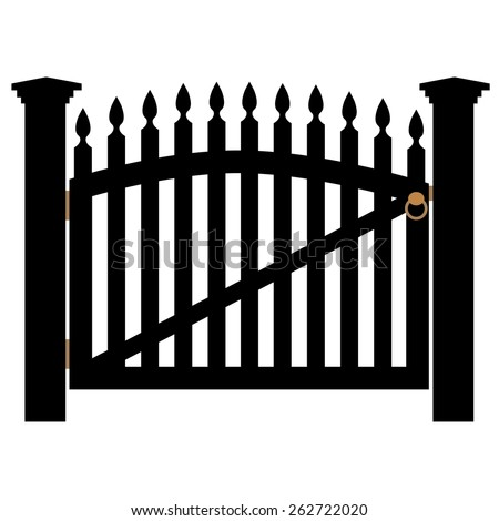 Vector Illustration Wroughtiron Fence Old Metal Stock