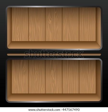 Black Wooden shelves modern design. vector illustration - stock vector