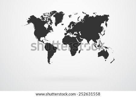Black World Map Continents Vector - stock vector