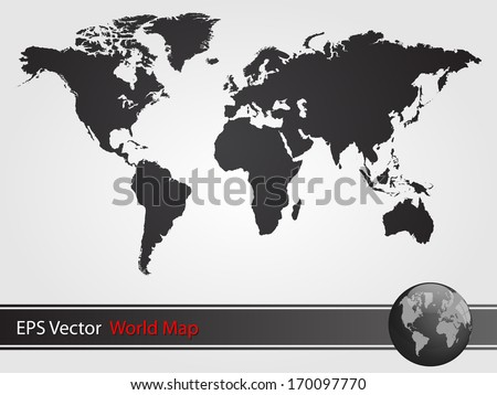 Black World Map Illustration - stock vector