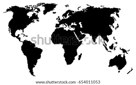 Black world map isolated on white vector de stock654011053 shutterstock black world map isolated on white background vector eps10 gumiabroncs Images