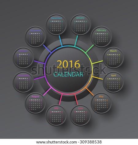 Black 2016 year circle calendar infographic style - stock vector
