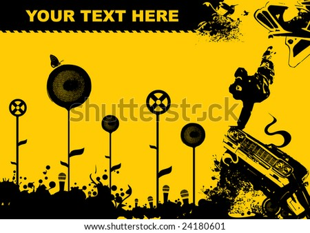 black yellow design, flayer for clubs - stock vector