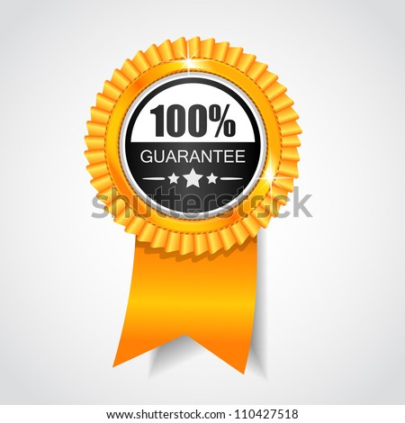Black & Yellow label. 100% Guarantee - stock vector