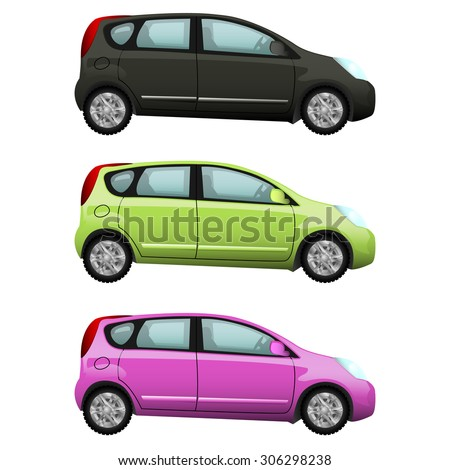 Black, yellow, pink car set