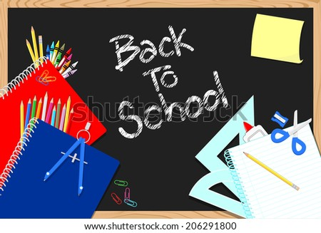 blackboard and school education supplies items background - stock vector