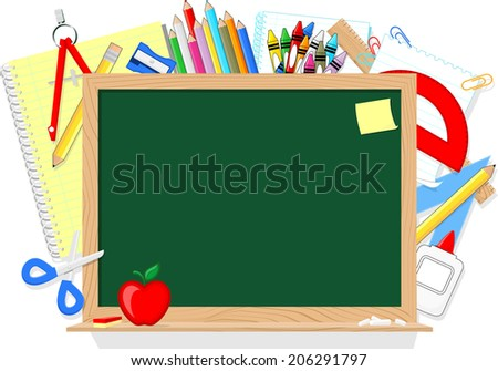 blackboard and school education supplies items isolated on white background