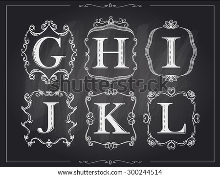 Blackboard chalk vintage calligraphic letters in monogram retro frames, alphabet logos set - G, H, I, J, K, L - stock vector
