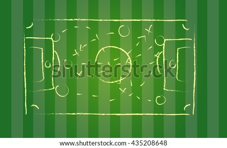 blackboard drawing a soccer game strategy.On green football field