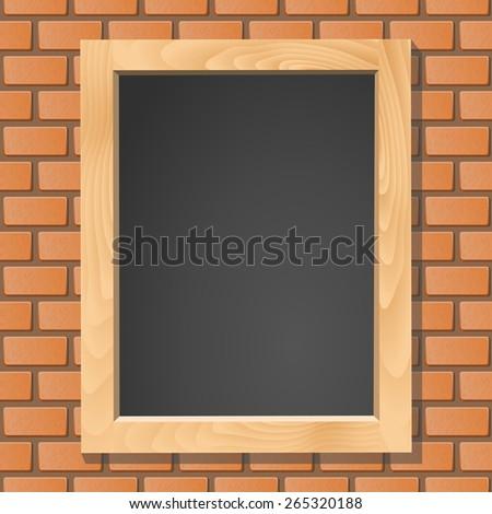Blackboard on brick wall, vector illustration - stock vector