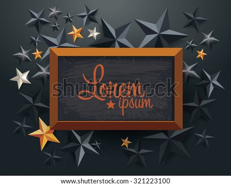 blackboard on holiday background with stars  - stock vector